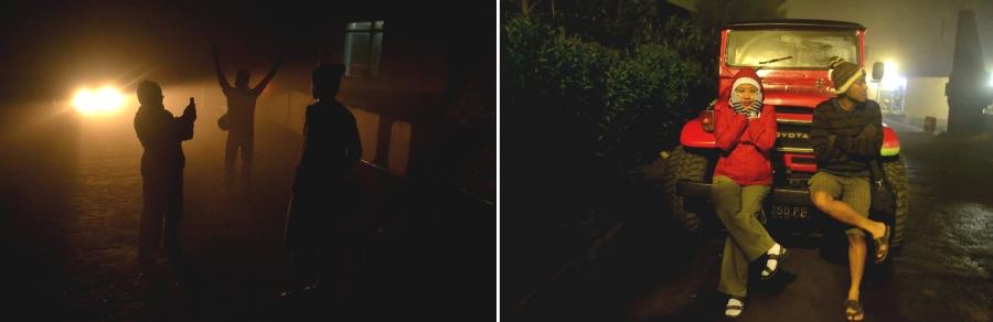 malam berkabut di cemorolawang. jeep yang banyak digunakan