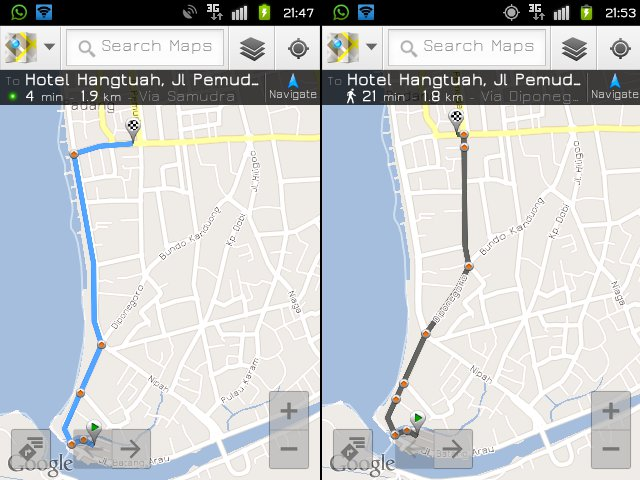 dua versi dari google map, by car and by foot