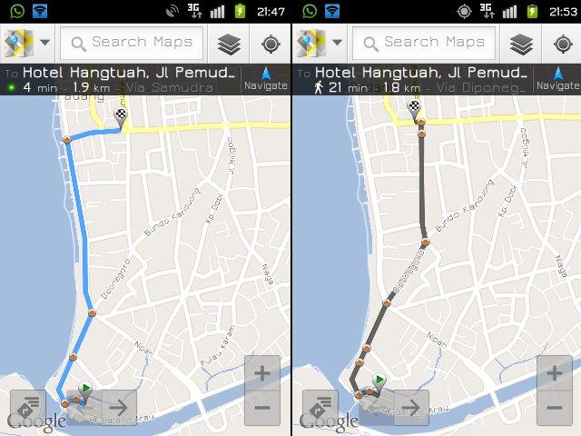 dua versi dari google map, by car and by foot