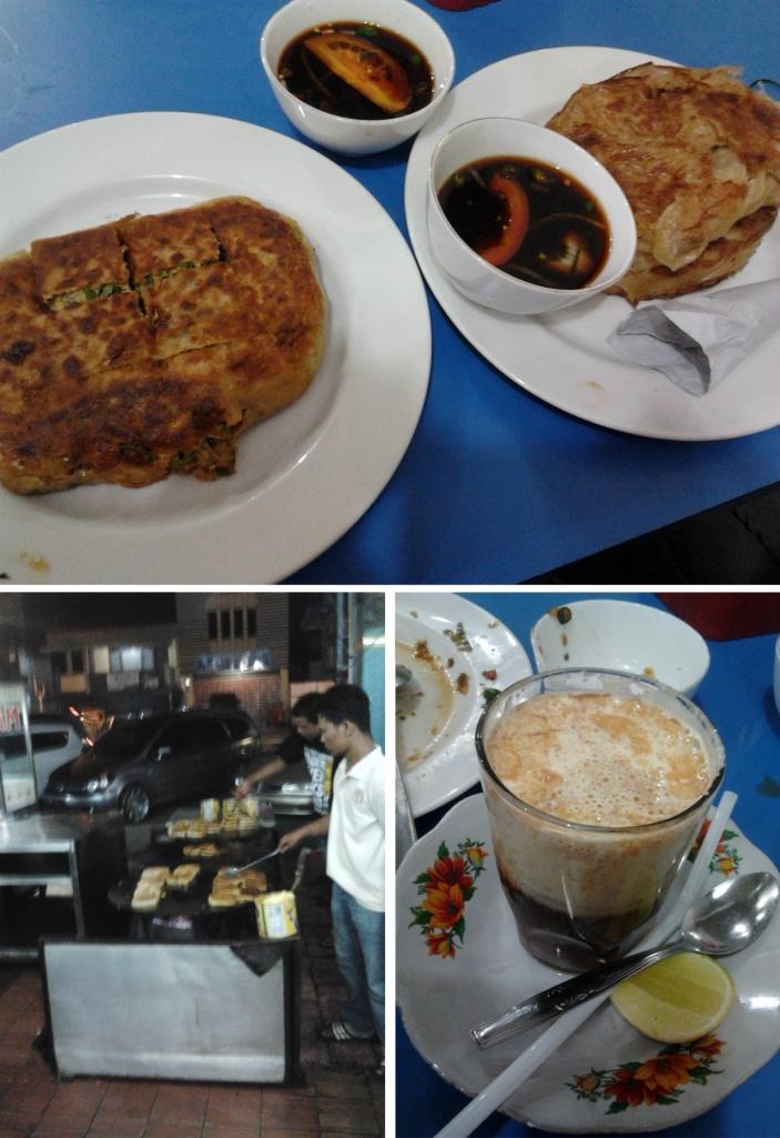 martabak, roti cane, dan teh talua. wajan untuk memasak martabak besar sekali.