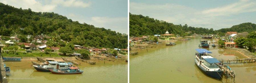 tepian sungai batang arau dengan kapal yang bervariasi