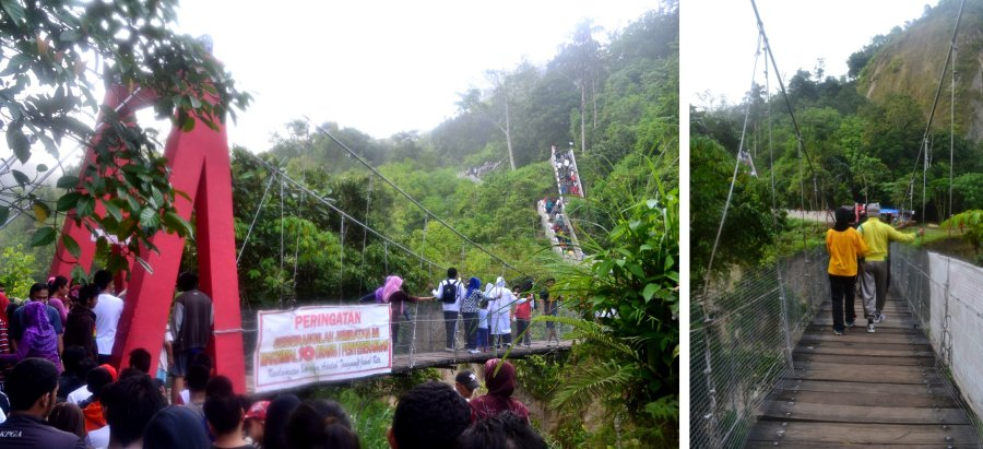 menyeberang jembatan ke tembok besar koto gadang