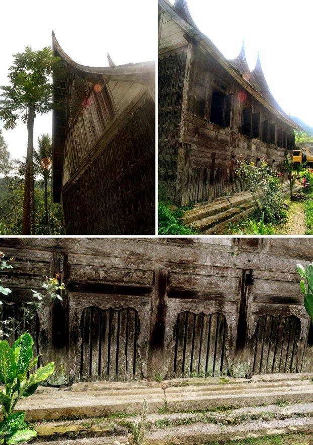 dinging yang tertutup anyaman bambu, dinding depan, pola penutup kolong