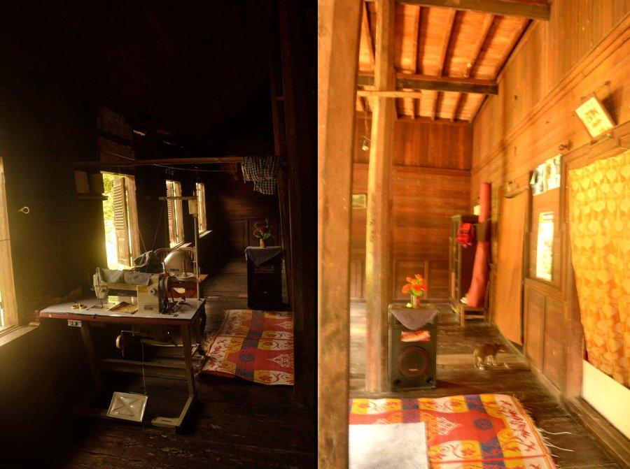 mesin jahit di tepi jendela dan ambang pintu ruangan bertutup kain