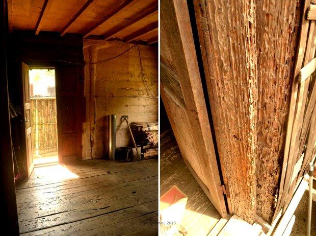 sudut pintu masuk maupun keluar, ambang pintu masuk yang sudah tua termakan rayap