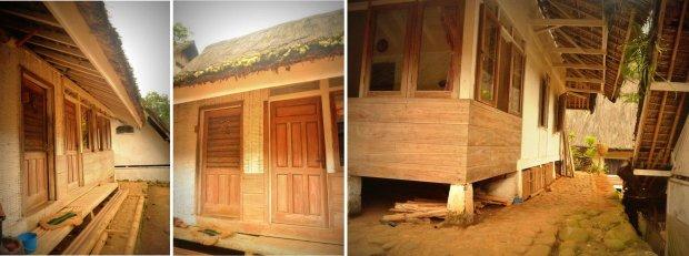 sisi depan dengan dua pintu : panil kayu untuk ruang tamu, anyaman untuk dapur. rumah panggung di atas batu