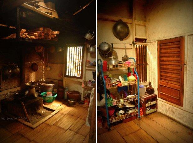 dapur dengan lantai bambu dan di tengahnya ada tungku batu. asap mengalir lewat jendela atau celah-celah anyaman.