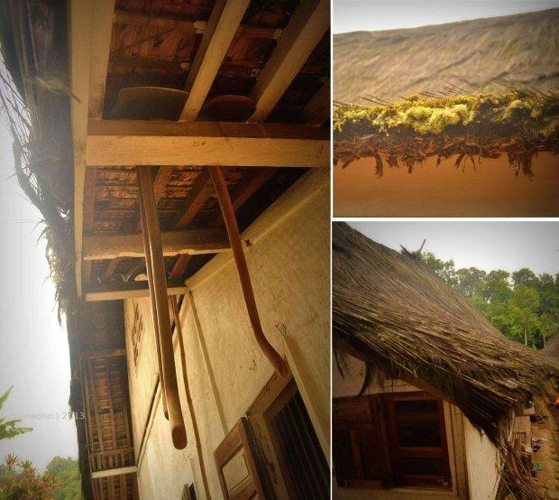rangka atap untuk menggantung, penutup atap injuk (ijuk) hitam namun mulai berjamur.