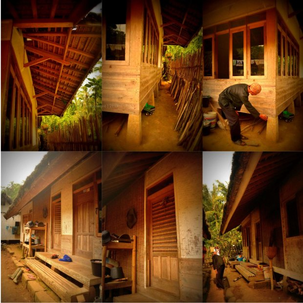 rumah penduduk dari kayu dan anyaman bambu