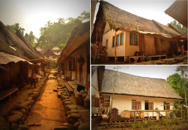 jalan antara dua rumah yang berhadapan utara selatan, rumah panggung menggantung