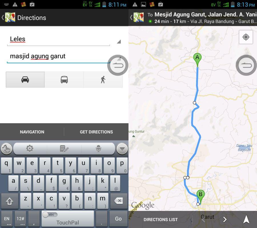 menggunakan 'direction' pada googlemap
