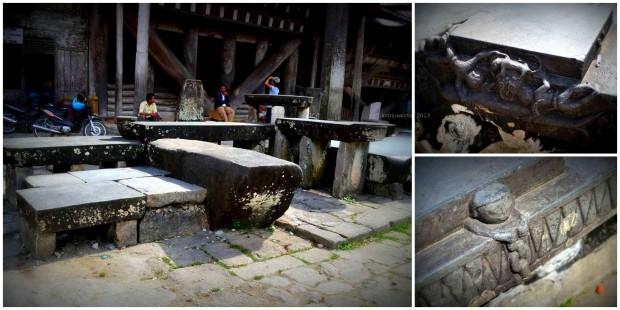 meja batu dengan ornamen di sekitarnya