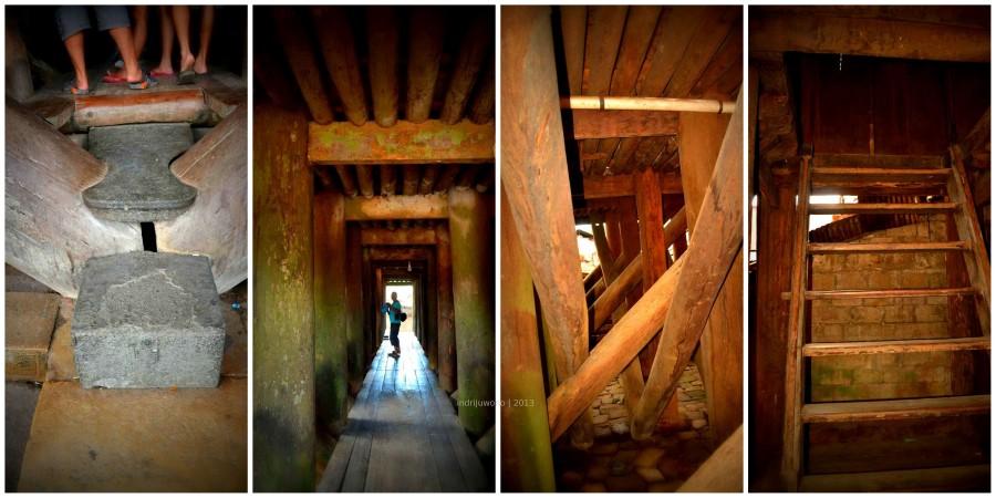 jalan masuk melalui kolong rumah di antara tiang-tiang penyangga