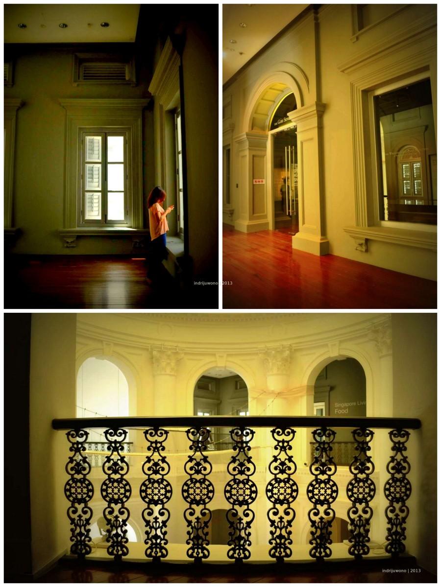 living gallery di atas lobby utama dengan railing besi motif organik