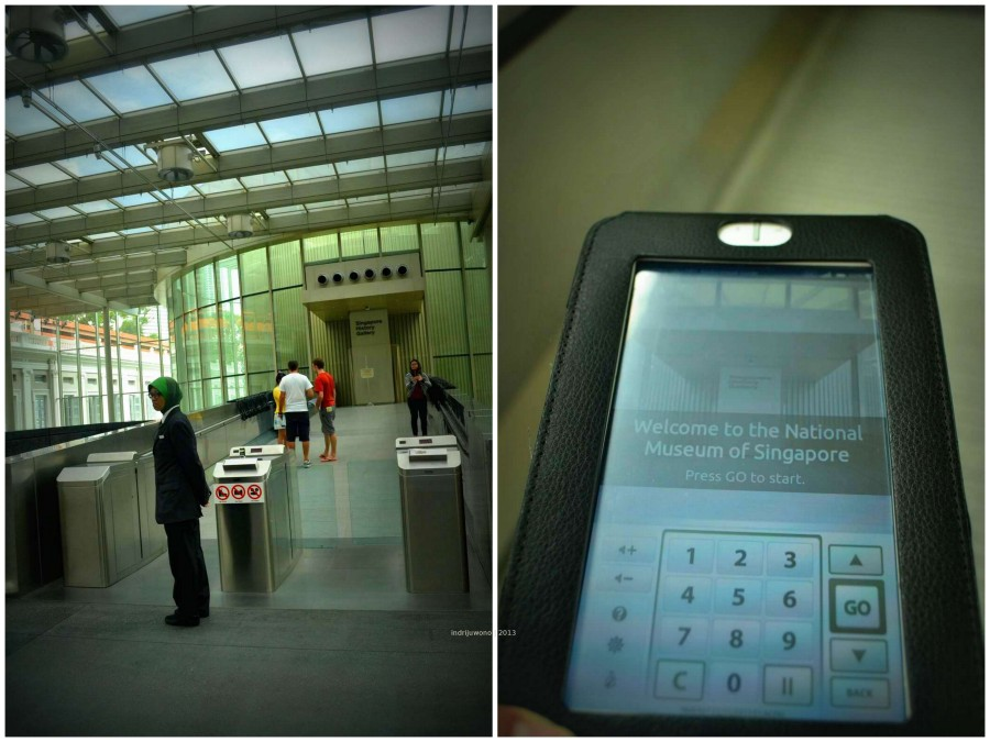 pintu masuk dan tablet yang digunakan untuk mendengarkan penjelasan di dalam