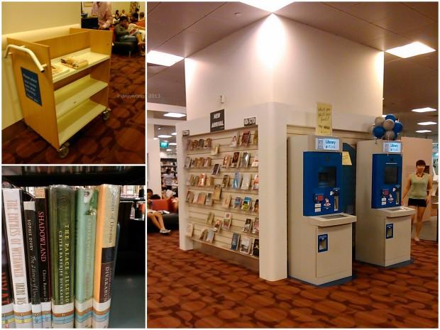 koleksi baru, rak pengembalian buku yang dibaca di tempat, dan menemukan buku karya penulis favoritku: divakaruni