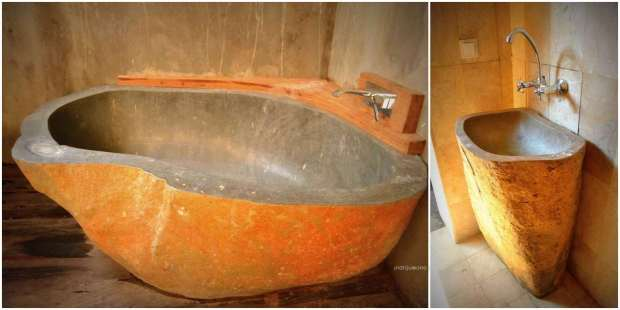 bak mandi dari batu karya para artisan