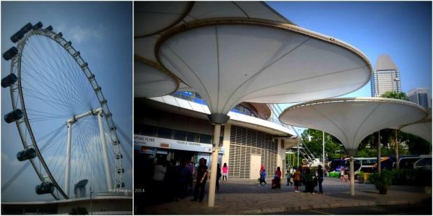 teras singapore flyer dengan payung-payung, deck kayu restoran, dan tempat menunggu yang berwarna-warni