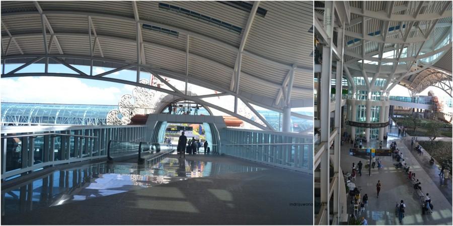 jembatan dan pemandangan ke taman hall bawah