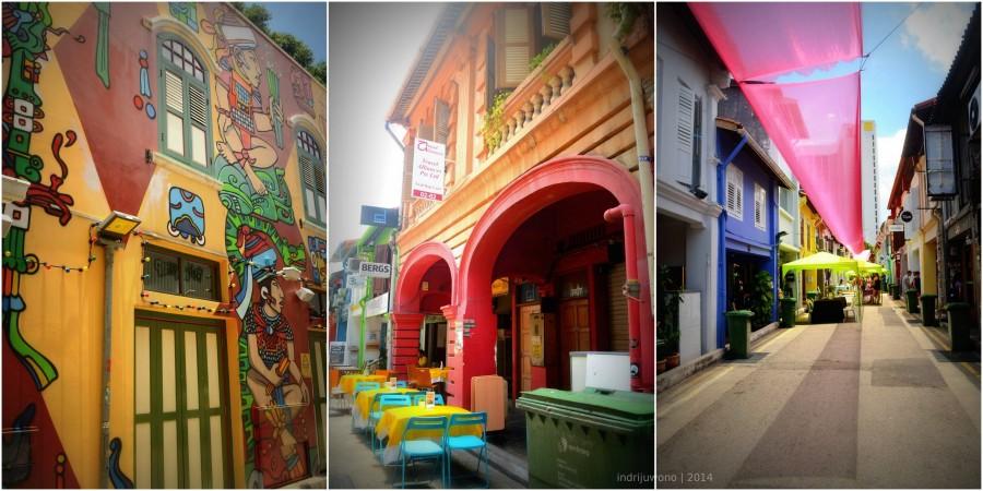 warna warni mural di jalan. ada sunday market juga!