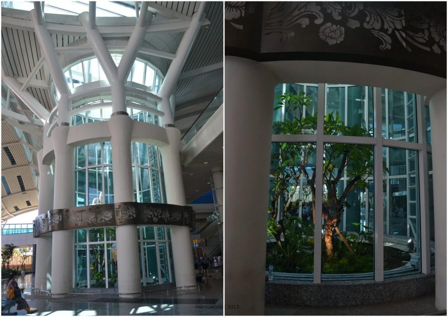 enam kolom penopang membentuk lingkaran dengan taman beratapkan skylight