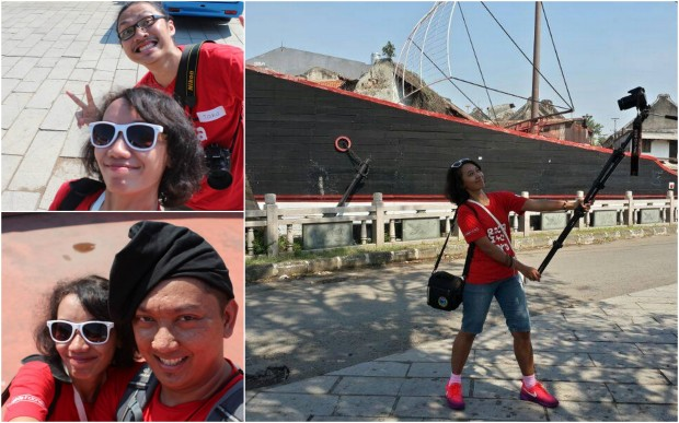 selfie di depan kapal bareng jay dan jaka