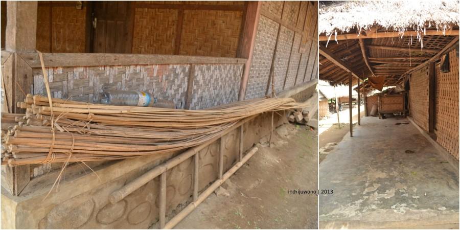 di teras yang berlantai semen, ada pagar anyaman bambu setinggi 80 cm