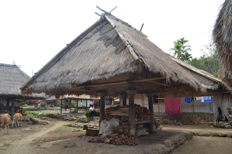 kayu bakar pun di bawah lumbung