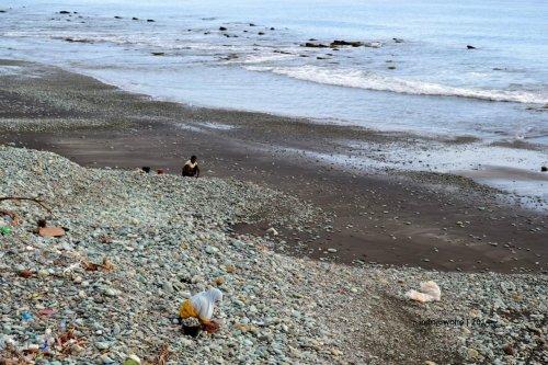 pekerja pengumpul batu di pantai