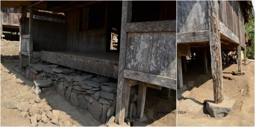 tumpuan teras teda wewa dan tiang yang berdiri di atas batu