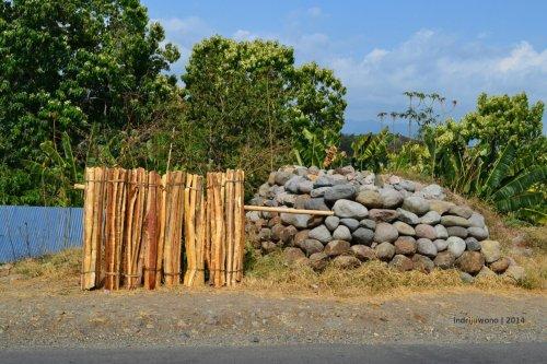 kayu bakar dijual di tepi jalan. ada banyak komposisi kayu bakar yang menarik untuk difoto