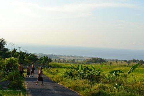jalan desa narang yang dilewati anak sekolah
