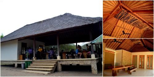 rest area, atap rumbia dan batang-batang unik