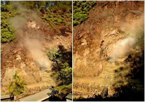 uap panas dari bumi menyeruak dari lubang batu