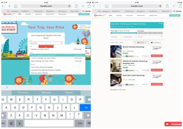 tampilan travelio.com di iPad. kiri, halaman pertama. kanan, pilihan hotel.