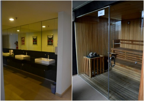 changing room dan sauna berlapis granit hitam