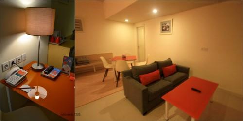 kamar suite, dengan ruang tambahan berisi sofa dan meja kerja