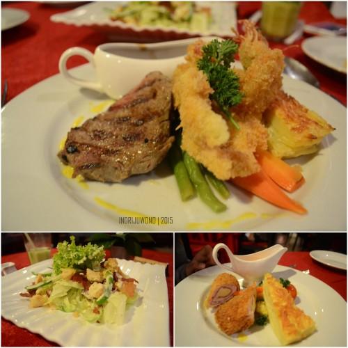 tugu steak, salad, dan chicken cordon blue