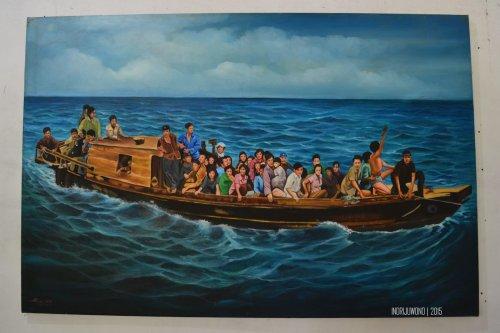 lukisan yang menggambarkan kondisi pengungsi di kapal
