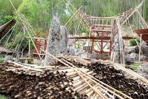 tumpukan bambu bahan tongkonan